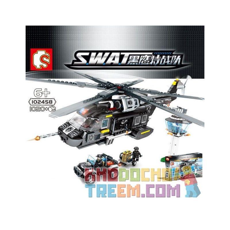 SEMBO 102458 Xếp hình kiểu Lego SWAT SPECIAL FORCE Black Eagle Special Police Large Transport Helicopter Trực Thăng Vận Tải Lớn 1020 khối