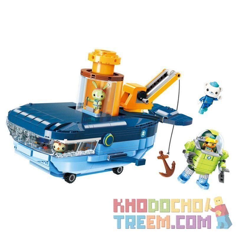 Enlighten 3714 Qman 3714 KEEPPLEY 3714 Xếp hình kiểu Lego OCTONAUTS Octonauts Tàu ngầm cá voi xanh 630 khối