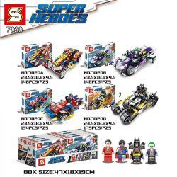 SHENG YUAN SY 7020 7020A 7020B 7020C 7020D Xếp hình kiểu Lego SUPER HEROES SuperHeroes Superhero People, 4 Shazan, Clown, Superman, Batman Chiến Cơ Siêu Anh Hùng 4 Trong 1 gồm 4 hộp nhỏ 603 khối