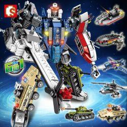 Sembo 103099 103100 103101 103102 103103 103104 (NOT Lego Transformers Mecha Of Steel ) Xếp hình Tàu Ngầm Trực Thăng Xe Bọc Thép Xe Tăng Máy Bay Tàu Chiến Kết Hợp Thành Người Máy gồm 6 hộp nhỏ lắp được 7 mẫu 733 khối