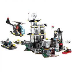 SEMBO 102487 Xếp hình kiểu Lego SWAT SPECIAL FORCE Black Eagle Special Police Island Prison Nhà Tù Trên đảo 1548 khối
