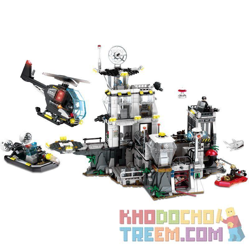 SEMBO 102487 Xếp hình kiểu Lego SWAT SPECIAL FORCE SWAT Nhà tù trên đảo 1548 khối