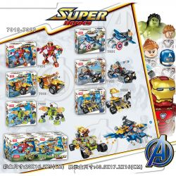 JISI 7018 7019 7020 7021 7022 7023 Xếp hình kiểu Lego MARVEL SUPER HEROES SuperHeroes 6 chiến cơ của người sắt, đội trưởng Mỹ, thần sấm, Hulk và báo đen gồm 4 hộp nhỏ 894 khối