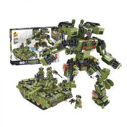 Panlosbrick 621021 (NOT Lego Transformers Super Deformation:type 99 Main Battle Tank ) Xếp hình Robot Biến Hình: Xe Tăng lắp được 2 mẫu 830 khối