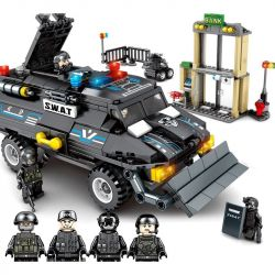 SEMBO 102407 Xếp hình kiểu Lego SWAT SPECIAL FORCE Black Eagle Special Police Cleavage Armored Vehicle Đội đặc Nhiệm Black Hawk Bảo Vệ Ngân Hàng 549 khối