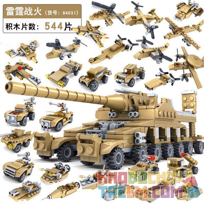 Kazi KY84031 84031 Xếp hình kiểu Lego MILITARY ARMY Thunder Fire Thunder War Dora Valley 16 Cuộc Chiến Chấn động Khẩu Siêu Pháo Và 16 Vũ Khí Mạnh Mẽ 544 khối