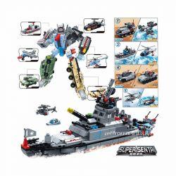 GUDI 8717 Xếp hình kiểu Lego MILITARY ARMY Super Sentai đội hình siêu nhiên: sáu trong một thần, bão chiến tranh và biệt đội phản ứng nhanh lắp được 7 mẫu 543 khối