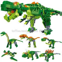Gudi 8705 (NOT Lego Jurassic World Super Sentai ) Xếp hình Khủng Long Bạo Chúa Biến Hình 6 Trong 1 gồm 6 hộp nhỏ 472 khối