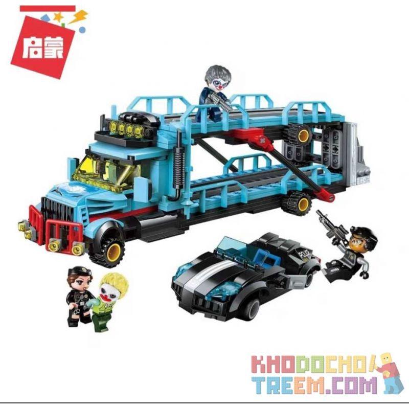 Enlighten 1929 Qman 1929 Xếp hình kiểu Lego Battle Force Police Series Trapped Transport Vehicle Săn Lùng Người Vận Chuyển 441 khối