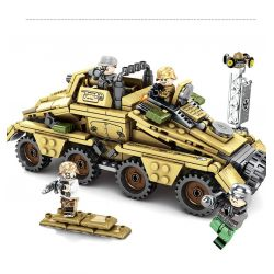 SEMBO 101341 Xếp hình kiểu Lego EMPIRES OF STEEL Steel Empire German SD.KFZ.233 Armored Car With Gun Xe Bọc Thép Chiến đấu 395 khối