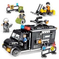 SEMBO 102348 Xếp hình kiểu Lego SWAT SPECIAL FORCE Black Eagle Special Police Communication Equipment Integrated Car đội đặc Nhiệm Black Hawk Và Xe Cảnh Sát Tích Hợp Thiết Bị Liên Lạc 391 khối