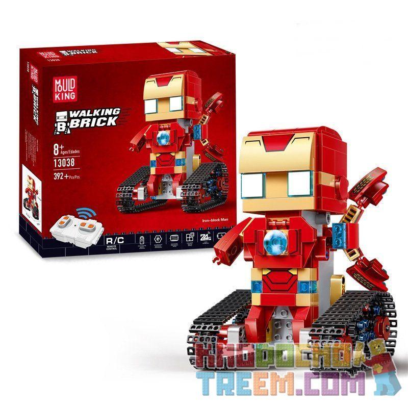 MOULDKING 13038 Xếp hình kiểu Lego WALKING BRICK Walking Brick Iron-block Man Square Head Cute Treasure Iron Man Người Sắt 388 khối điều khiển từ xa