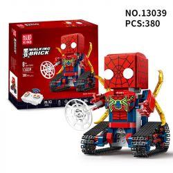 MOULDKING 13039 Xếp hình kiểu Lego WALKING BRICK Walking Brick Spider-block Man Square Head Cute Treasure Square Head Spiderman Người Nhện điều Khiển Từ Xa 380 khối điều khiển từ xa