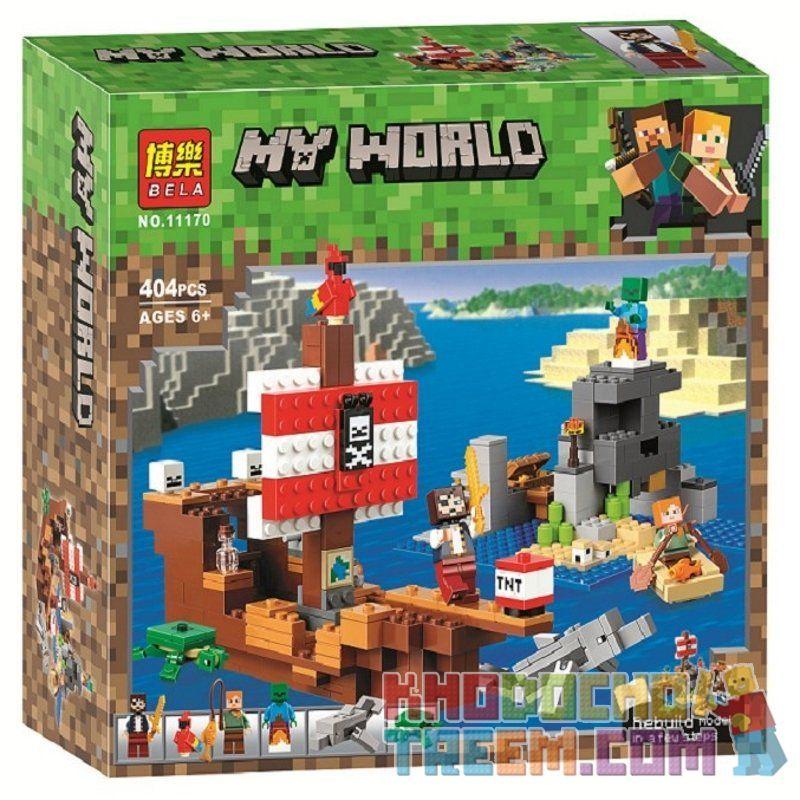 NOT Lego MINECRAFT 21152 Minecraft Pirate Ship Adventure , Bela 11170 Lari 11170 SHENG YUAN SY SY1270 1270 SX 1023 XINH 5134 Xếp hình Tàu Cướp Biển 386 khối