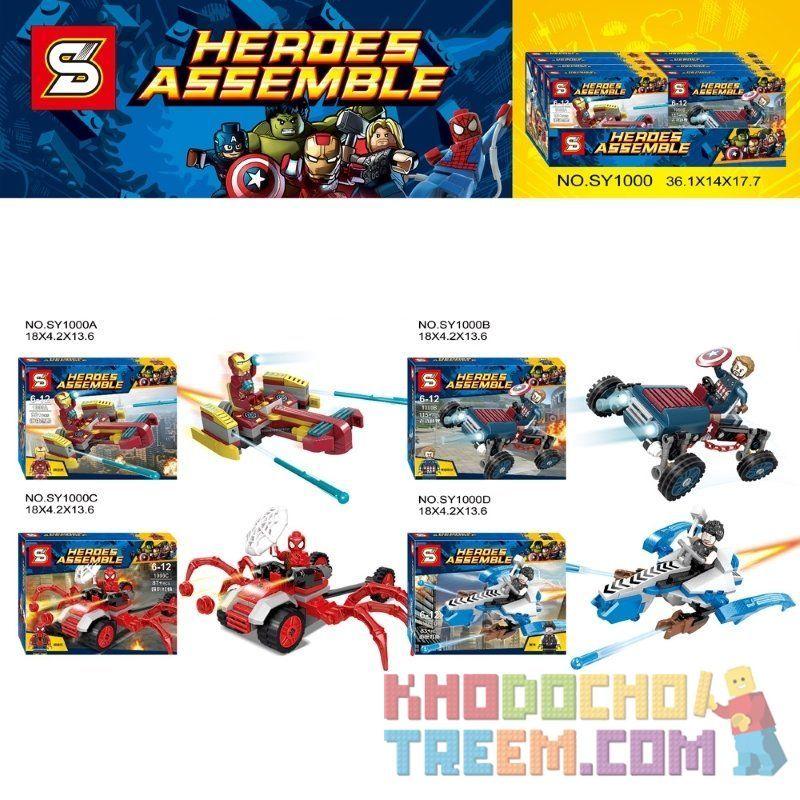 SHENG YUAN SY 1000 SY1000 1000 SY1000A 1000A SY1000B 1000B SY1000C 1000C SY1000D 1000D Xếp hình kiểu Lego SUPER HEROES Heroes Assemble Avengers League Wall Carrier 4 Các Phương Tiện Cấu Hình Nhỏ Của A