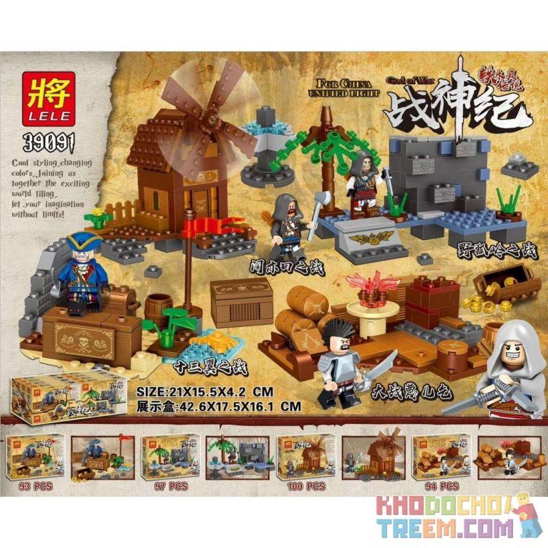 LELE 39091 39091A 39091B 39091C 39091D Xếp hình kiểu Lego GOD OF WAR Tiemu Legend Tips 4 4 Cảnh Nhỏ Của The Legend Of Temujin gồm 4 hộp nhỏ 384 khối