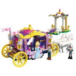 Enlighten 2605 Qman 2605 Xếp hình kiểu Lego PRINECESS LEAH Prinecess Leah Violet Carriage Princess Lay Violet Royal Car Violet Royal Car. 358 khối