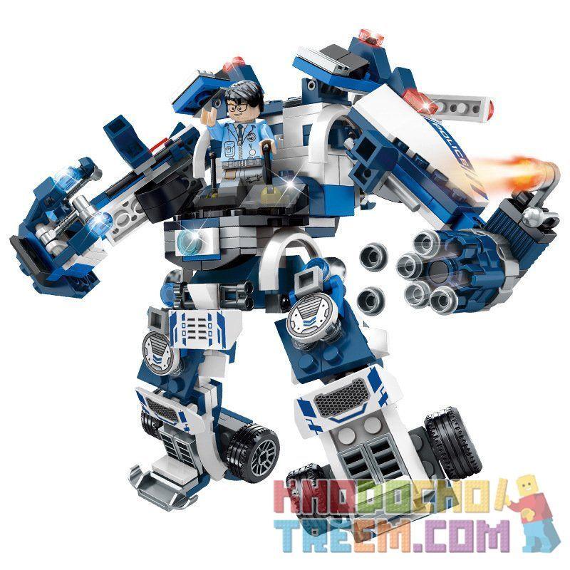 SEMBO SD9546 9546 Xếp hình kiểu Lego FUTURE POLICE Dragon Anger Lightning Tracking, Smart Control, Fast Patrol Police Car 3 Máy Bay Chiến đấu Theo Dõi Tia Chớp, Mech Tấn Công Thông Minh, Xe Cảnh Sát T