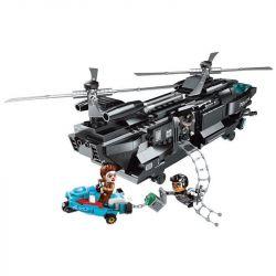 Enlighten 1928 Qman 1928 Xếp hình kiểu Lego Battle Force Police Series Flying Eagle Block Action Máy Bay Trực Thăng Chiến đấu 473 khối