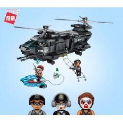 Enlighten 1928 Qman 1928 KEEPPLEY 1928 Xếp hình kiểu Lego POLICE Battle Force máy bay trực thăng chiến đấu 473 khối