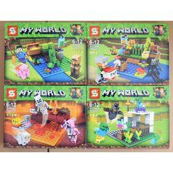 SHENG YUAN SY 796 SY796 SY796A 796A SY796B 796B SY796C 796C SY796D 796D Xếp hình kiểu Lego MINECRAFT MY WORLD Small Scene 4 4 Cảnh Nhỏ ở Minecraft gồm 6 hộp nhỏ 376 khối