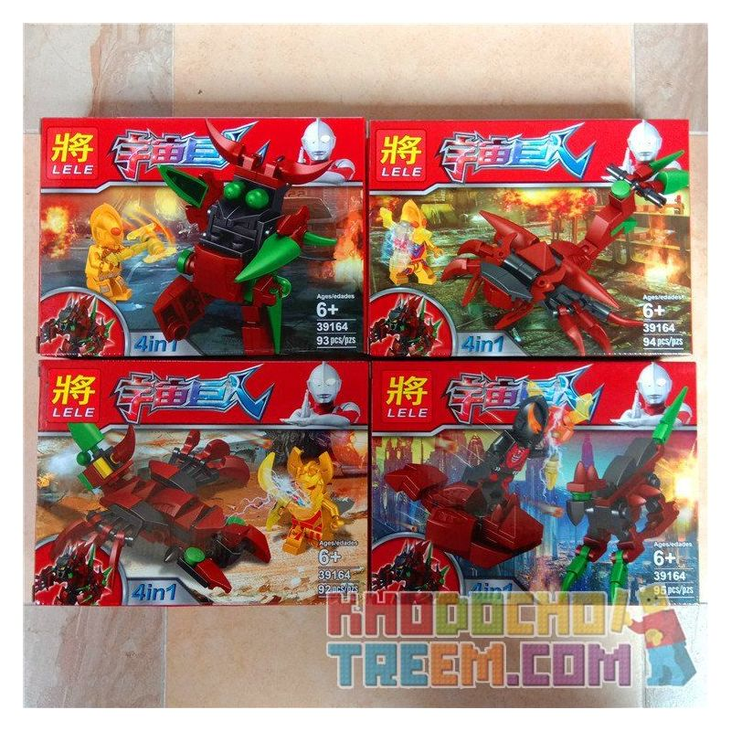 LELE 39164 Xếp hình kiểu Lego ULTRAMAN 4 trong một cuộc chiến của sieu nhân điện quang với quái vật bọ cạp và khủng long bạo chúa 374 khối
