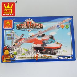 WANGE 36021 Xếp hình kiểu Lego FIRE RESCURE Firefighting Helicopter máy bay trực thăng chữa cháy 352 khối