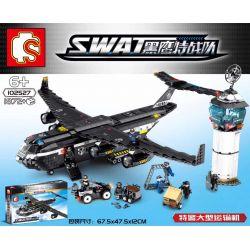 SEMBO 102527 Xếp hình kiểu Lego SWAT SPECIAL FORCE Black Eagle Special Police Large Transporter Máy Bay Vận Tải Của Lực Lượng Cảnh Sát 1872 khối
