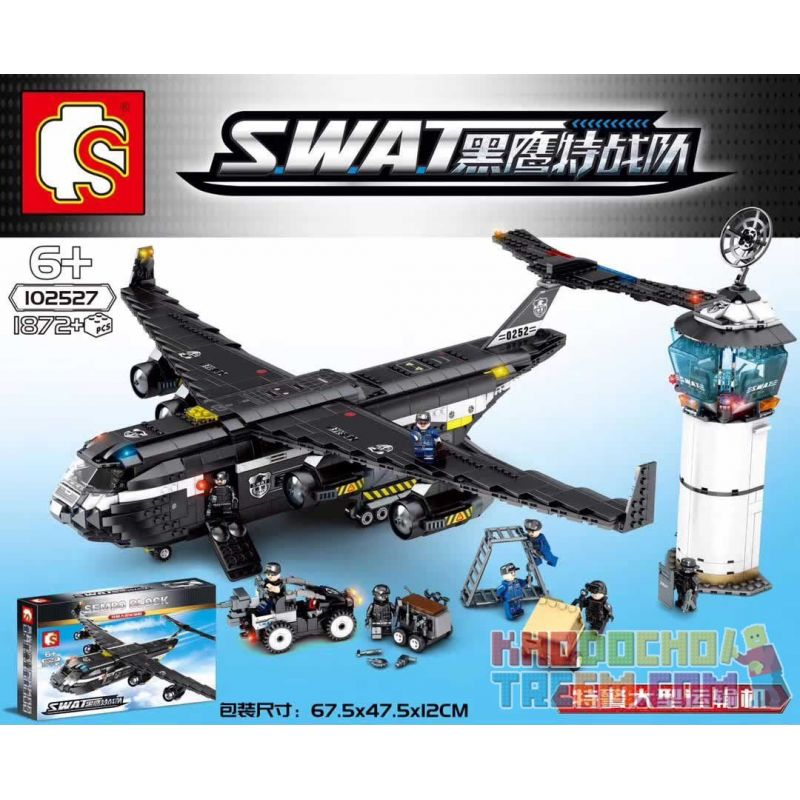 SEMBO 102527 Xếp hình kiểu Lego SWAT SPECIAL FORCE SWAT Máy bay vận tải của lực lượng cảnh sát 1872 khối