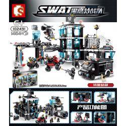 SEMBO 102491 Xếp hình kiểu Lego SWAT SPECIAL FORCE SWAT trụ sở của lực lượng cảnh sát đặc biệt 1464 khối