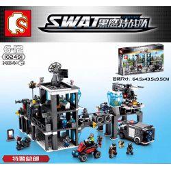 Sembo 102491 (NOT Lego SWAT Special Force Headquarters Of Special Police ) Xếp hình Trụ Sở Của Lực Lượng Cảnh Sát Đặc Biệt 1464 khối