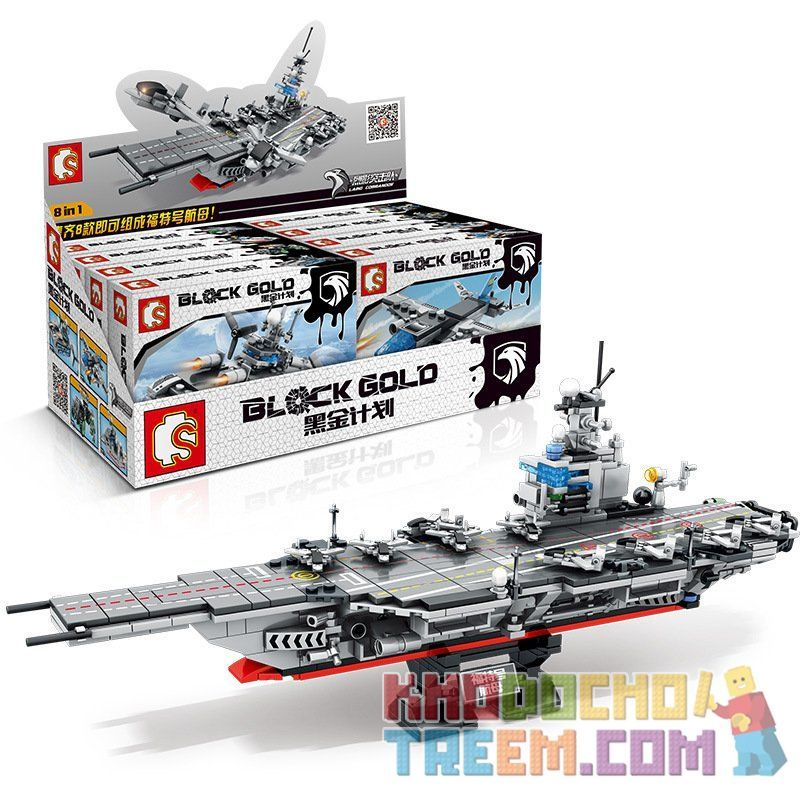 SEMBO 12082 12083 12084 12085 12086 12087 12088 12089 Xếp hình kiểu Lego BLACK GOLD Black Gold Tàu sân bay kết hợp gồm 8 hộp nhỏ 836 khối