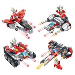 Panlosbrick 690010 (NOT Lego Creator 3 in 1 Ultraman ) Xếp hình Xe Tăng Siêu Nhân Điện Quang gồm 4 hộp nhỏ 841 khối