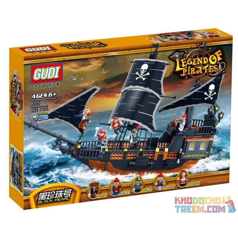 GUDI 9115 Xếp hình kiểu Lego PIRATES OF THE CARIBBEAN Legend Of Pirates:Black Pearl tàu cướp biển ngọc trai đen huyền thoại 652 khối