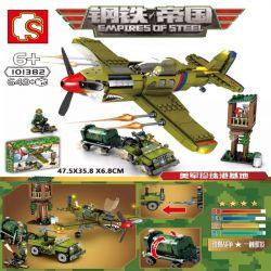 SEMBO 101382 Xếp hình kiểu Lego EMPIRES OF STEEL Steel Empire US Military Pearl Base P-40 Fighter Máy Bay Chiến đấu P-40 Căn Cứ Trân Châu Cảng Của Quân đội Hoa Kỳ 649 khối