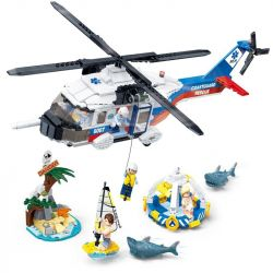 Gudi 9226 (NOT Lego Fire rescure Marine Rescue Operation ) Xếp hình Trực Thăng Cứu Hộ 589 khối