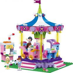 GUDI 9614 Xếp hình kiểu Lego MODERN GIRLS Modern Girls Luxury Carousel Rotating Trojan đu Quay Băng Chuyền 567 khối