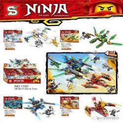 SHENG YUAN SY 1197 1197A 1197B 1197C 1197D Xếp hình kiểu Lego THE LEGO NINJAGO MOVIE Ninja:Thunder Swordsman phi cơ ninja sấm sét gồm 4 hộp nhỏ 545 khối