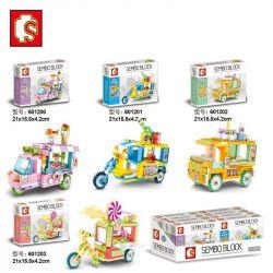 SEMBO 601200 601201 601202 601203 Xếp hình kiểu Lego MINI MODULAR Sembo Block Mini Street View Pavilion 4 Ice Cream, Drink, Pastry, Candy Xe Bán Kem, đồ Uống, Bánh Ngọt, Kẹo gồm 4 hộp nhỏ 542 khối