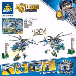 Kazi KY67260 67260 Xếp hình kiểu Lego Urban Police EC225 Police Helicopter 1 Change 2 Máy Bay Trực Thăng Cảnh Sát EC225 579 khối