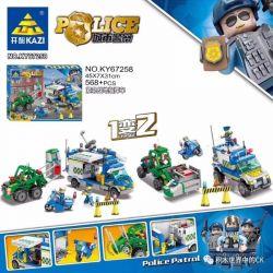 Kazi KY67258 67258 Xếp hình kiểu Lego Police Emergency Battle Command Car 1 Change 2 Cảnh Sát đặc Nhiệm 568 khối