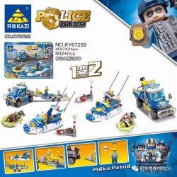 Kazi KY67259 67259 Xếp hình kiểu Lego Police Motor Alarm Transport Boat 1 Change 2 Thuyền Cảnh Sát Biển 502 khối