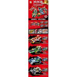 SHENG YUAN SY 7032 7032A 7032B 7032C 7032D Xếp hình kiểu THE LEGO NINJAGO MOVIE Ninja Ninja Master Ninja Shengguang Battle, Electric Acbe Tour, Ice Green Wings, Local Terrain đua Xe Ninja gồm 4 hộp nh