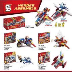SHENG YUAN SY 1093 1093A 1093B 1093C 1093D Xếp hình kiểu Lego SUPER HEROES Heroes Assemble Máy bay chiến đấu Avengers gồm 4 hộp nhỏ 467 khối