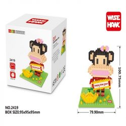 Wise Hawk 2419 Nanoblock Accesssories Big Mouth Monkey New Year Goddess Edition Xếp hình Công Chúa Khỉ 417 khối