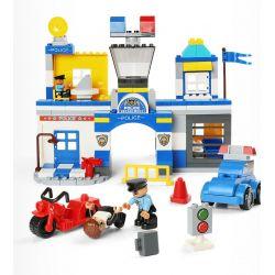 FEELO 1628 Xếp hình kiểu Lego Duplo DUPLO Police Station lắp ráp trụ sở cảnh sát 140 khối