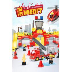Feelo 1661D Xếp hình kiểu LEGO Duplo city fire brigade đội cứu hỏa thành phố 118 khối