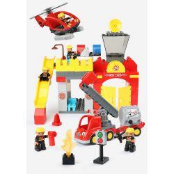 FEELO 1661D Xếp hình kiểu Lego Duplo DUPLO City fire Brigade đội cứu hỏa thành phố 118 khối