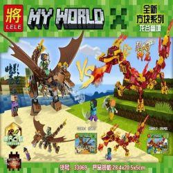 LELE 33069 33069-1 33069-2 Xếp hình kiểu Lego MINECRAFT MY WORLD Dragon Valley Focus Shadow Canglong Flame God Dragon Thung Lũng Rồng Serenity Shadow Blue Dragon Blazing Dragon gồm 2 hộp nhỏ 352 khối