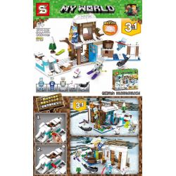 SHENG YUAN SY 1193 SY1193 1193 Xếp hình kiểu Lego MINECRAFT My World Thế giới của tôi gồm 2 hộp nhỏ 346 khối